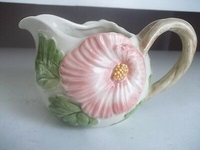 Estate Find Beautiful Signed Fitz And Floyd Hibiscus Flower Creamer