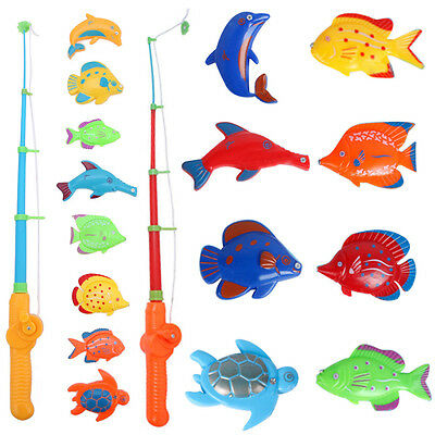 Magnetic Fishing Fish Rod Model Net Game Fun Toy Kid Children Baby Bath Time Toy