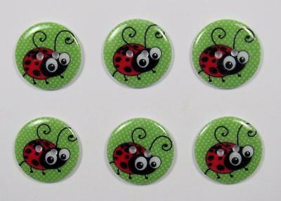 BB BUTTONS LADYBUG 22mm pack of 6 acrylic sewing craft scrapbooking button