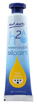 Mont Marte H2O Water Mixable - Water Soluble Oil Paint 37ml - Yellow Mid