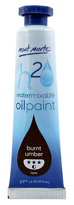 Mont Marte H2O Water Mixable - Water Soluble Oil Paint 37ml - Burnt Umber