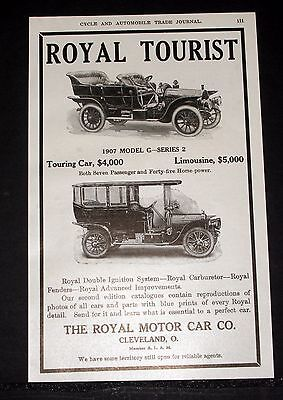 "1907 Old Magazine Print Ad, Royal Tourist ""model G"" Touring Car And Limousine!"