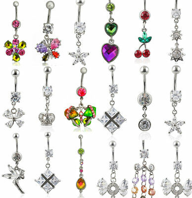 925 Sterling Silver Silvery Double Flower CZ Gem Belly Navel Button Ring Bar NEW