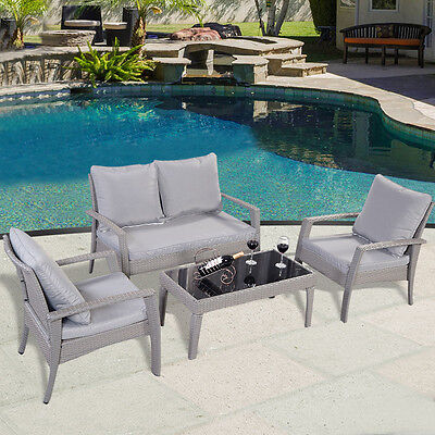 4PC Rattan Outdoor Garden Furniture Table & Chairs Patio Sofa Set Conservatory