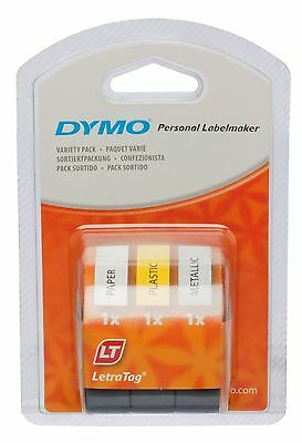 Dymo LetraTag Labelling Tape Assorted Colours Tear-Resistant 12mm x 4m Pack Of 3