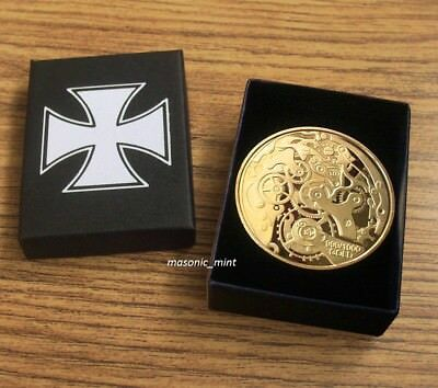 German 'Watch Movement Gold Plated Coin / Eagle / Iron Cross, Ww1/Ww2