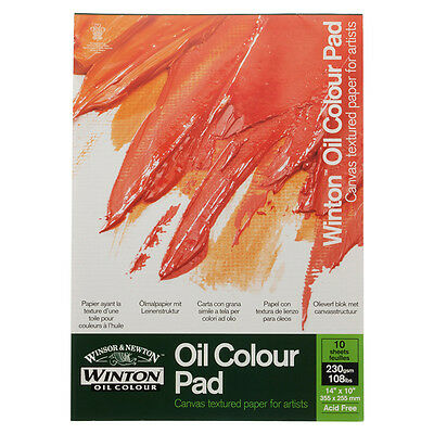"Winsor & Newton A3 Oil Colour Pad Quality 230gsm Canvas Paper 10 Sheets 14""x10"""