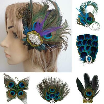 Forest Wedding Peacock Feather Fascinator Hair Clip Vintage 1920s Headpiece