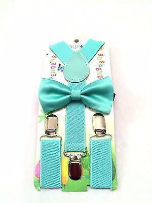 New Baby Toddler Kids Child Teal Mint Green Suspenders Bow Tie Bowtie