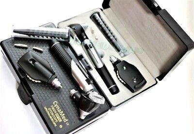 New Fiber Optic ophthalmoscope,Otoscope ENT Diagnostic Set.LED,CE+2 Free Bulb