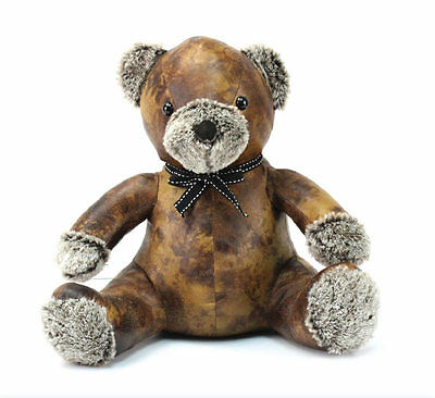 Luxury Brown Faux  Leather with Fluffy Nose & Paws ~ Teddy Bear Doorstop 27325