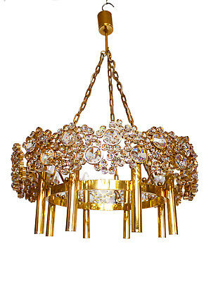 Wonderful Large CHANDELIER Gilded Brass & Crystal Lamp PALWA, Germany 1960s