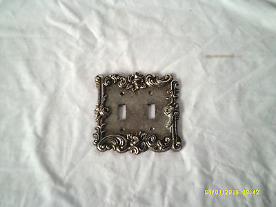 Vintage * 1967 American Tack * Ornate Metal 2-Gang Toggle Switch Wall Plate