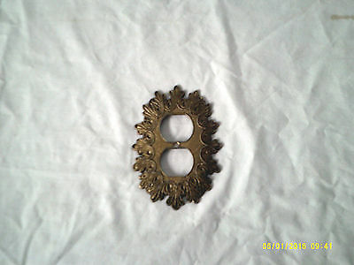 Vintage  Ornate Metal Plug Wall Plate