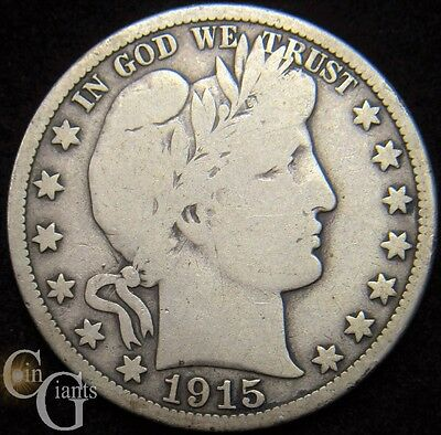 1915-S Barber Half Dollar 50c Fine F Key Date San Francisco Mint Coin Silver
