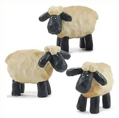Blossom Bucket--Set of 3 Small SHEEP Figurines~~So Cute~~