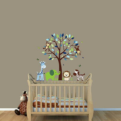 Safari Themed Nursery, Boys Wall Decal, Kids Animal Decor, Safari Tree Stickers