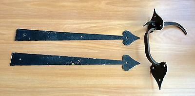 Vtg Cast Iron Faux Hand Forged 60S Thumb Latch Spade Door Handle Hardware Lot