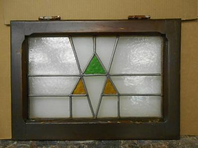 "OLD ENGLISH LEADED STAINED GLASS WINDOW Pretty Triangle Design 20.25"" x 14.5"""