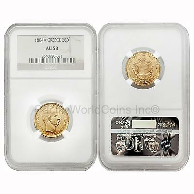 Greece 1884A 20 Drachma Gold NGC AU58
