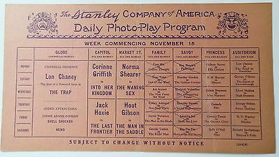 1920's Stanley Company Phila. Daily Photo-play Program Movies Lon Chaney, Grange