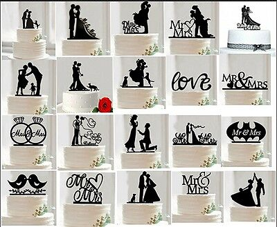 Cake Topper Silhouette Acrylic Bride And Groom Mr. & Mrs.Wedding Decoration New