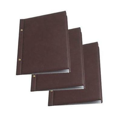 10 x Classic Menu Cover with Brass Interscrews, Burgundy A4 10 Pockets