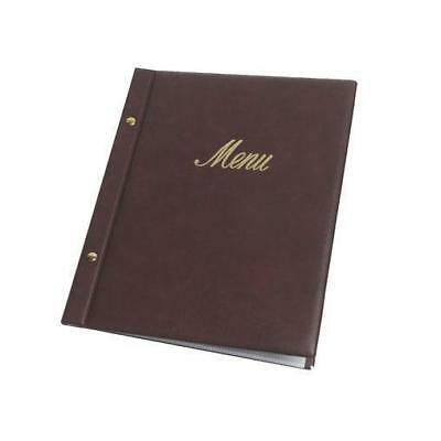 Classic Menu Cover with Brass Interscrews, Burgundy A4, Gold Text, 10 Pockets