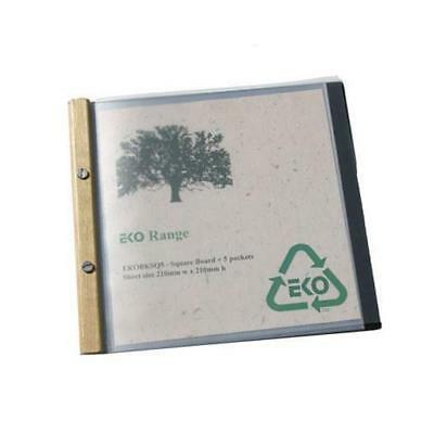 EKO Square Folder, Timber Trim, 5 Pockets, Restaurant Menu / Eco Friendly