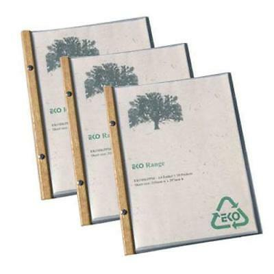 20 x EKO A4 Folder, Timber Trim, 10 Pockets, Restaurant Menu / Eco Friendly