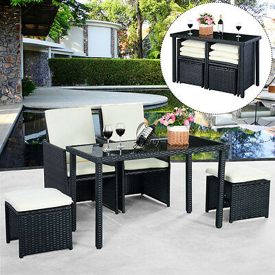 5pc Rattan Patio Set Outdoor Furniture Garden Table+2x Ottomans+2x Chairs