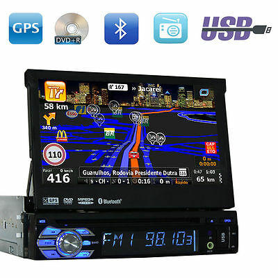 Single 1 Din Car Stereo In Dash GPS Navigation Touch Screen DVD Radio MP3 Player