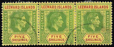 Leeward Islands 1951 5s. bright green & red / yellow, used strip of 3 (SG#112c)