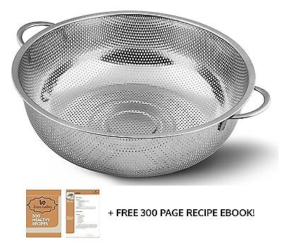 Zozo Galley Stainless Steel colander 4.5-Quart, Micro Perforated Food Strainer
