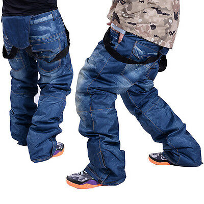 Outdoor Waterproof Men's Denim Ski Snowboard Pants Hiking Windproof Trouser New