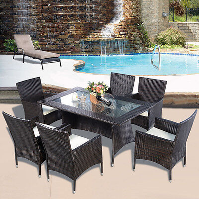 Rattan  Furniture Dining Tabl Chairs Dining Set Outdoor Garden Patio