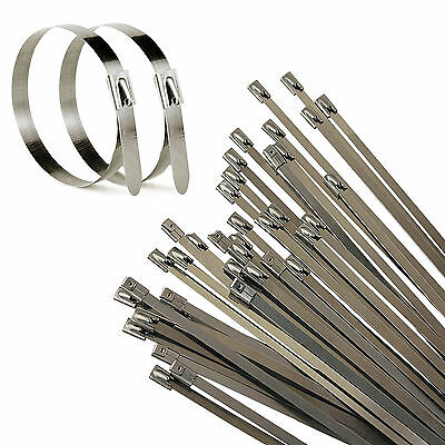 100X Strong Stainless Steel Marine Grade Metal Cable Ties Zip Tie Wraps Exhaust