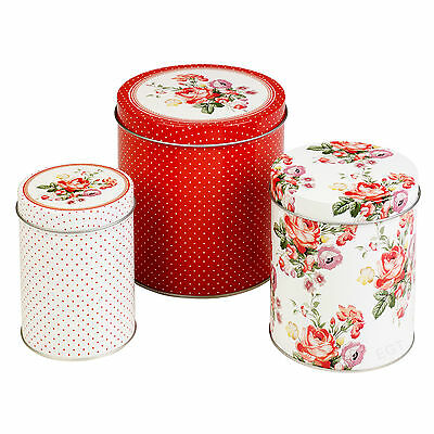 3 Katie Alice Tea Coffee Sugar Vintage Style Scarlet Kitchen Storage Tins Set