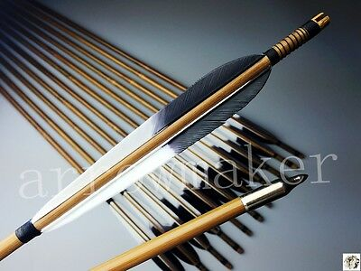 """6PK 6"""" Turkey Feather Traditional Bamboo arrows Medieval 32"""" Hunting arrows"""