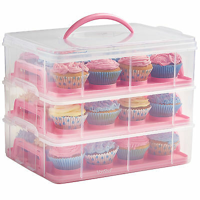 VonShef 36 Cupcake Carrier with Handle Stackable Caddy 3 Tier Plastic Case