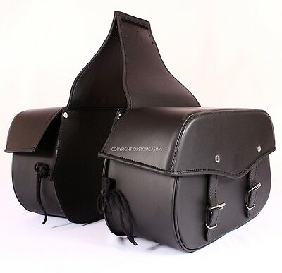 DESPARADO WIDE Black Motorcycle Motorbike Cruiser Biker Large Leather Saddlebag