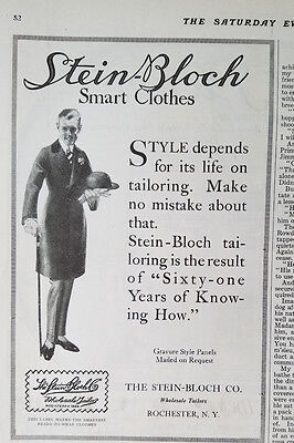 1915 Vintage Stein-Bloch Mens Smart Clothes Rochester NY Fashion Ad