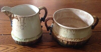 Antique marked Hampshire Pottery Sugar & Creamer, Very Nice!!