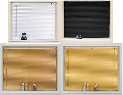 Pvc Venetian Window Blinds All Sizes White Black Natural Wood Effect & Teak