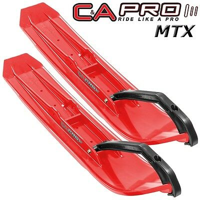 """C&A Pro MTX Mountain & Trail 8"""" Snowmobile Skis - Red with Black Loops - Pair"""