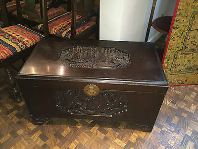 Antique Chinese Carved Chest Camphor Wood Made in China J.L.George Prop Shanghai