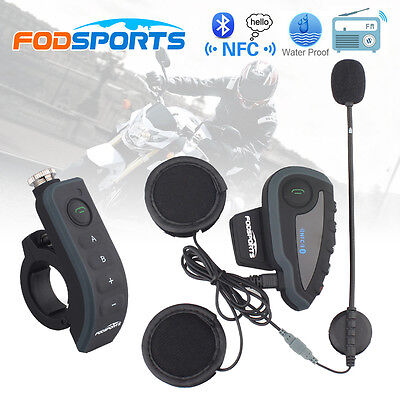 BT Intercomunicador Interphone Moto Bluetooth Interfono Auriculares Remoto V8 FM