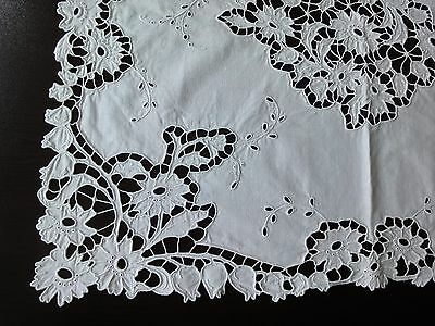 Stylish Antique Handmade Cutting Embroidered White Cotton Tablecloth