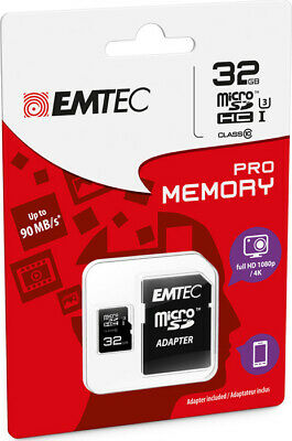 MicroSD HC 1 Memory Card Class 10 + SD Adapter 32GB Pro (3D / 4K) EMTEC