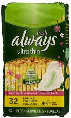 2 Pack Always Fresh Ultra Thin Regular Pads With Flexi-Wings Clean Scent 32 Each
